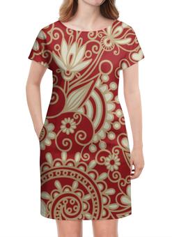 """Платье летнее """"Красный узор"""" - узор, цветы, сердца"""
