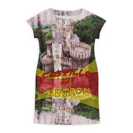 """Платье летнее """"Замки Испании. Замок Бутрон"""" - красный, испания, полоски, крепость, испанский флаг"""