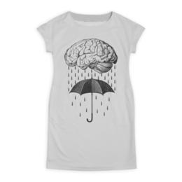 """Платье летнее """"Brain rain"""" - арт, мозг, прикольные, дождь, зонт"""