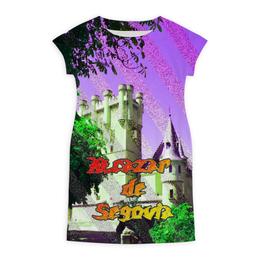 """Платье летнее """"Замки Испании.Крепость Сеговия."""" - сиреневый, фиолетовый, испания, полоски, крепость"""