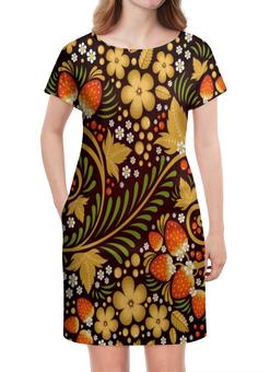 """Платье летнее """"Ягоды"""" - цветы, узор, лес, ягоды, клубника"""