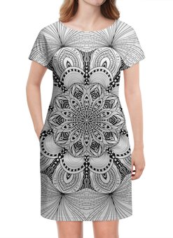 "Платье летнее ""Мандала цветок"" - цветы, цветок, орнамент, мандала, линии"