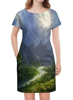 """Платье летнее """"Пейзаж красками"""" - природа, лес, река, пейзаж, горы"""