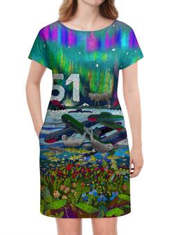 """Платье летнее """"Мурманск"""" - мурманск, 51 регион, северное сияние, морошка, тюлень"""