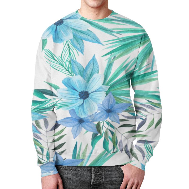 Свитшот мужской с полной запечаткой Printio Синие цветы цена и фото