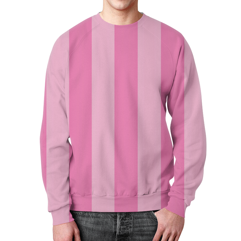 Свитшот унисекс с полной запечаткой Printio В полоску ткань magic girl pink полоска розовая