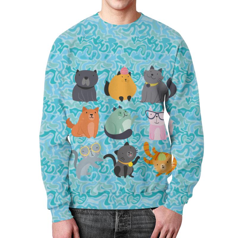 Printio Цветные кошки свитшот унисекс с полной запечаткой printio кошки 4