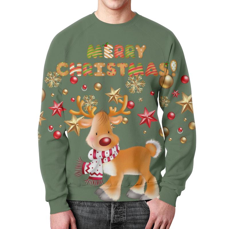 Свитшот мужской с полной запечаткой Printio Merry christmas! недорого