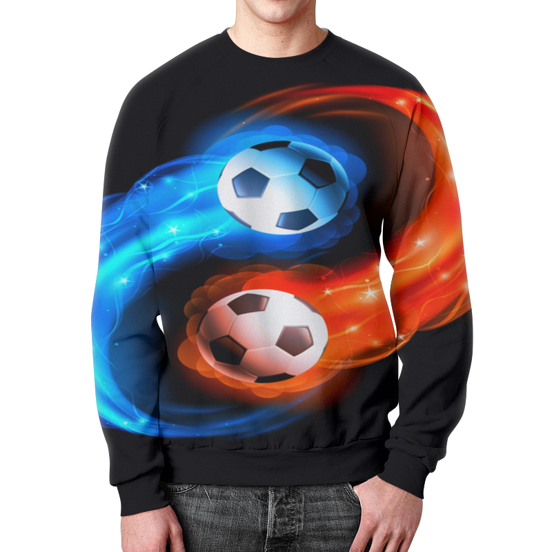 Свитшот мужской с полной запечаткой Printio Футбольные мячи
