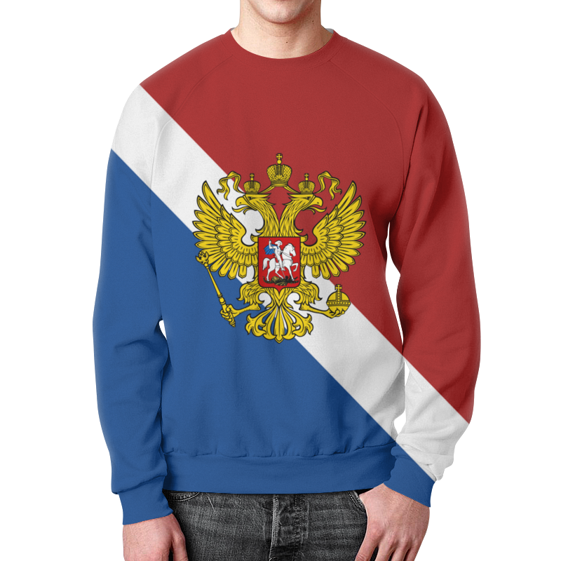 лучшая цена Свитшот мужской с полной запечаткой Printio Флаг россии