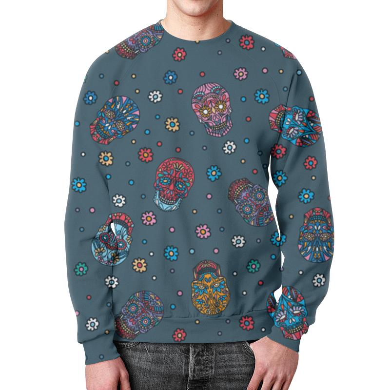Фото - Свитшот мужской с полной запечаткой Printio Цветочный череп. паттерн джинса (1) бомбер printio цветочные черепа джинса
