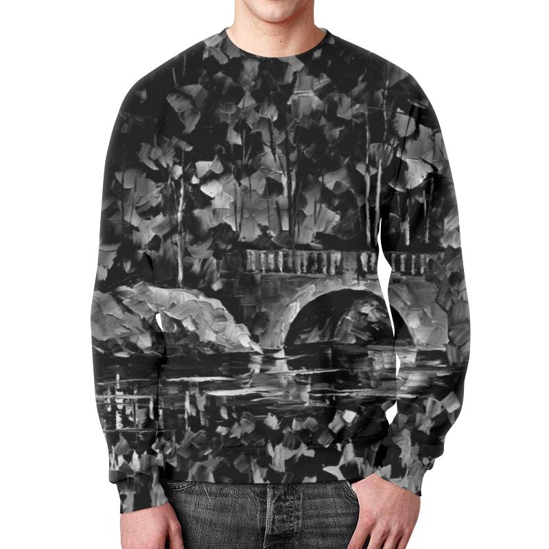 Свитшот мужской с полной запечаткой Printio Черно-белый пейзаж свитшот унисекс с полной запечаткой printio черно белый узор