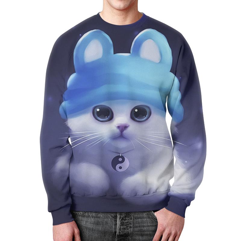 Свитшот мужской с полной запечаткой Printio Милый очаровательный котенок.знак инь ян. футболка с полной запечаткой мужская printio инь ян