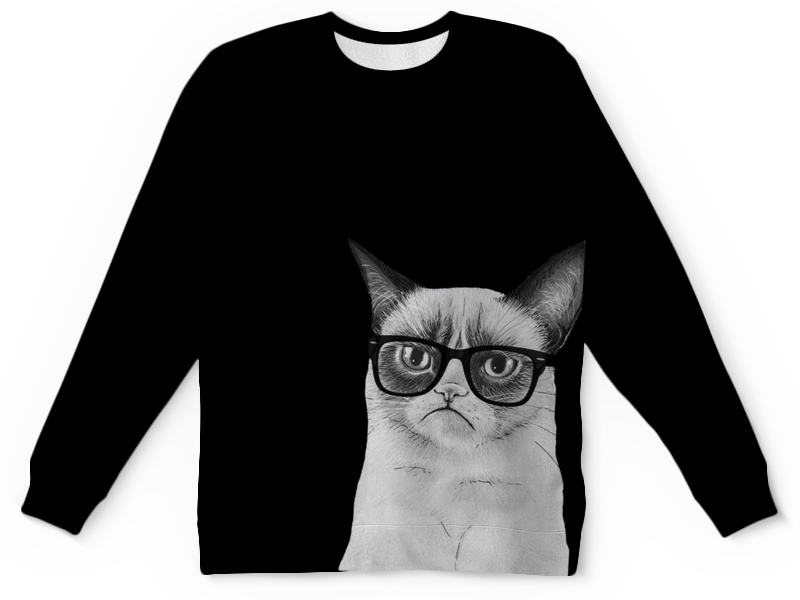 Свитшот унисекс с полной запечаткой Printio Угрюмый кот в очках утро понедельника