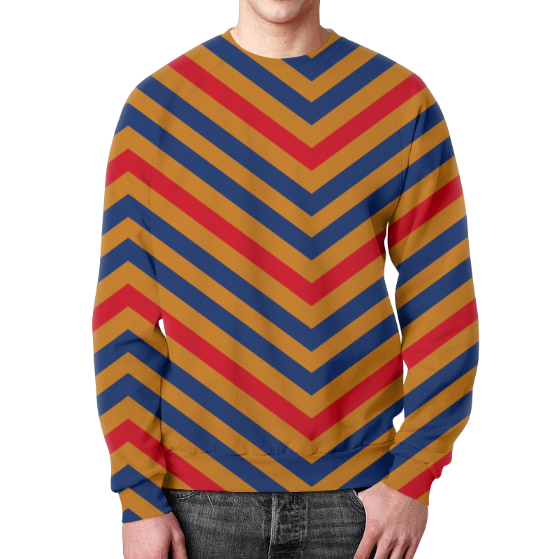 Свитшот мужской с полной запечаткой Printio Разноцветные линии цена