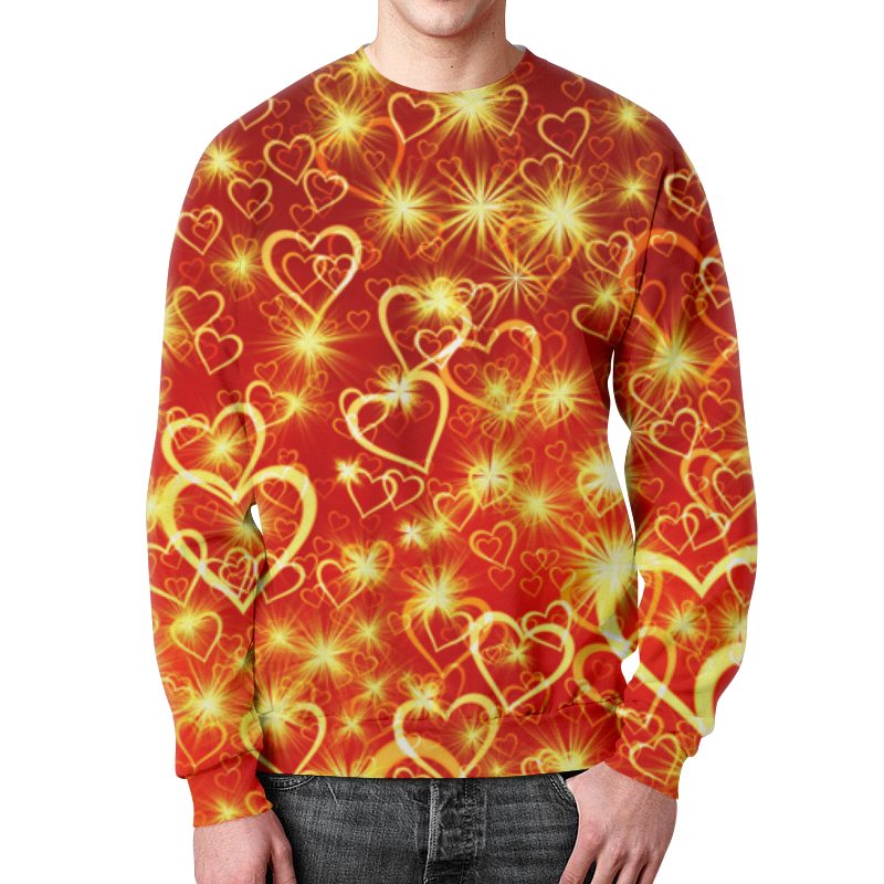 Printio Горячие сердца свитшот мужской с полной запечаткой printio сердца