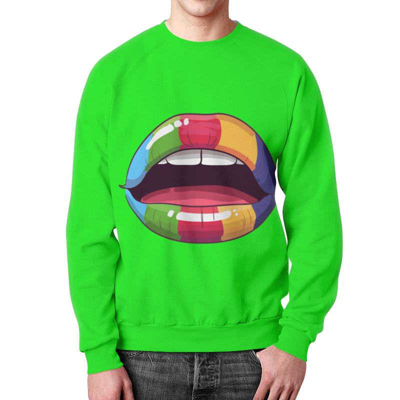 Свитшот мужской с полной запечаткой Printio Разноцветные губы цена