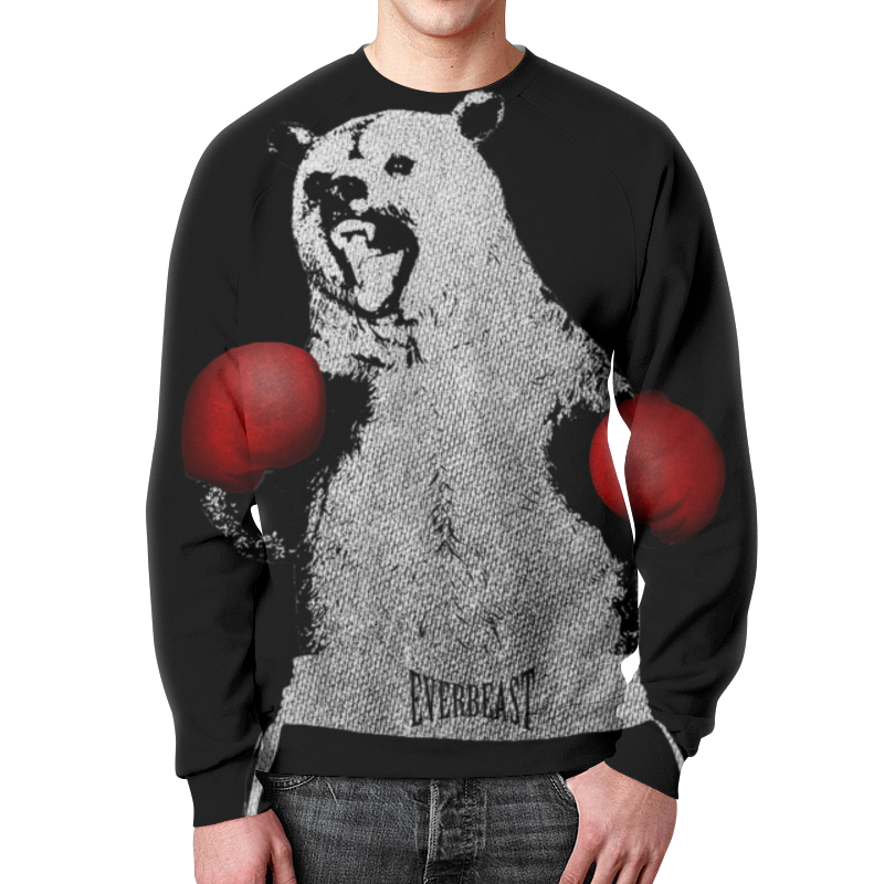Свитшот унисекс  полной запечаткой Printio Медведь боксёр