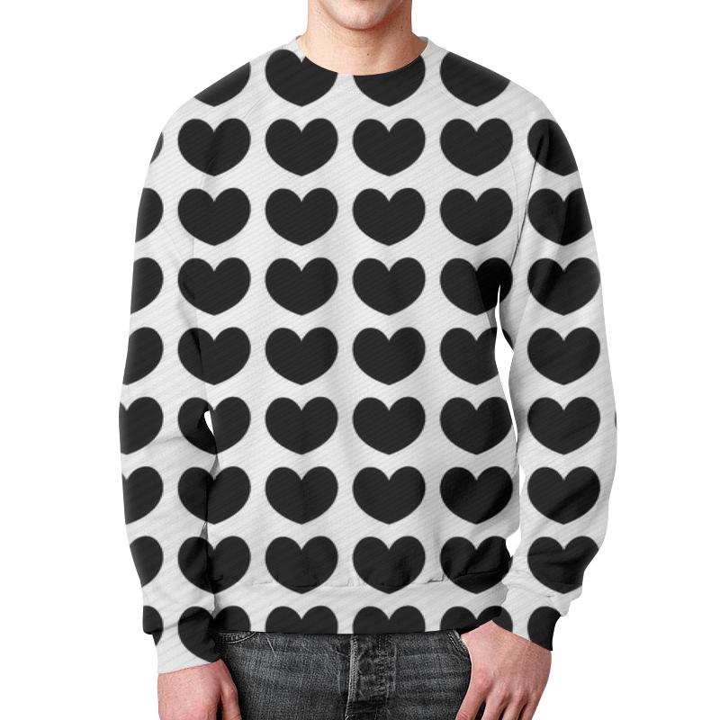Свитшот мужской  полной запечаткой Printio Черные сердечки