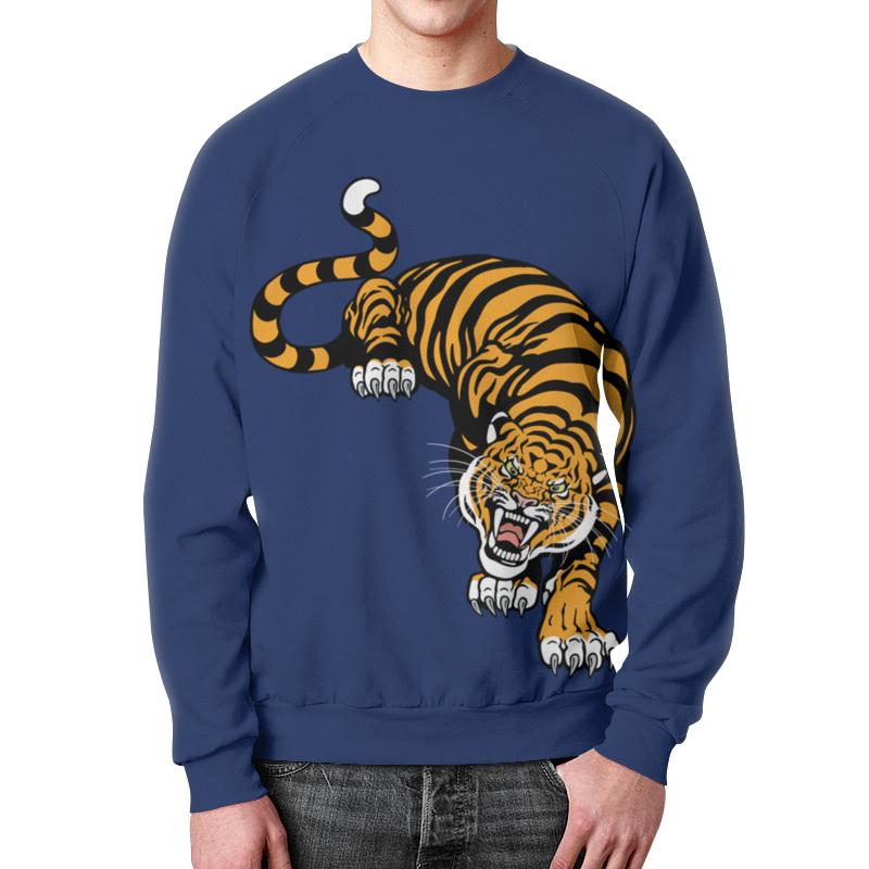 Свитшот мужской с полной запечаткой Printio Свирепый тигр подушка 60х40 с полной запечаткой printio свирепый тигр