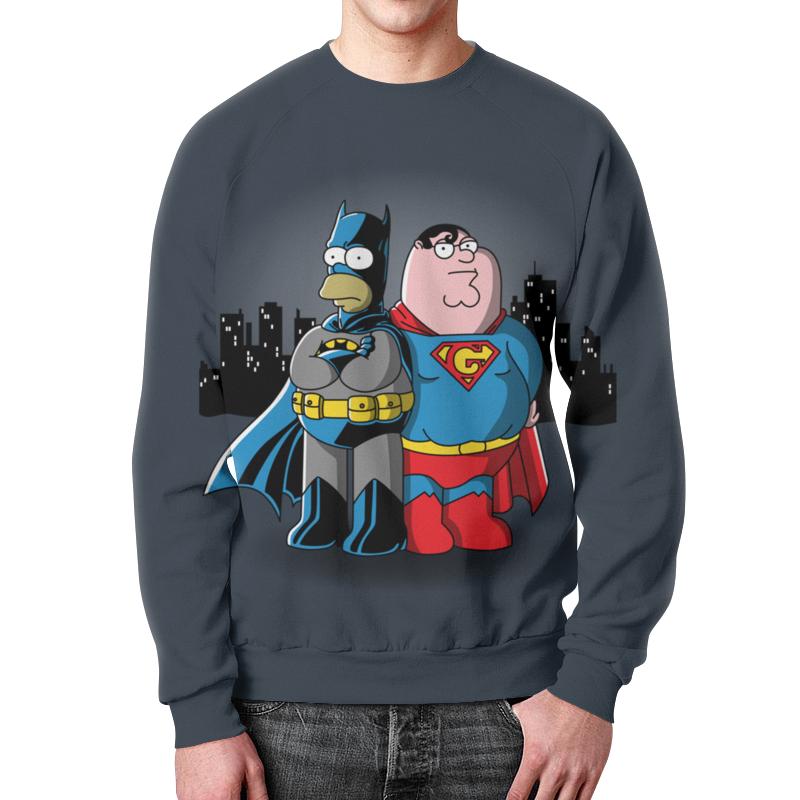 Свитшот мужской с полной запечаткой Printio Бэтмен симпсон и супермен гриффин