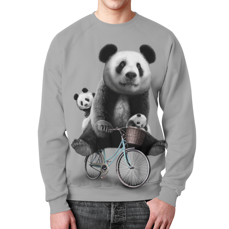 Свитшот унисекс с полной запечаткой Printio Панда на велосипеде свитшот унисекс с полной запечаткой printio мишки панда