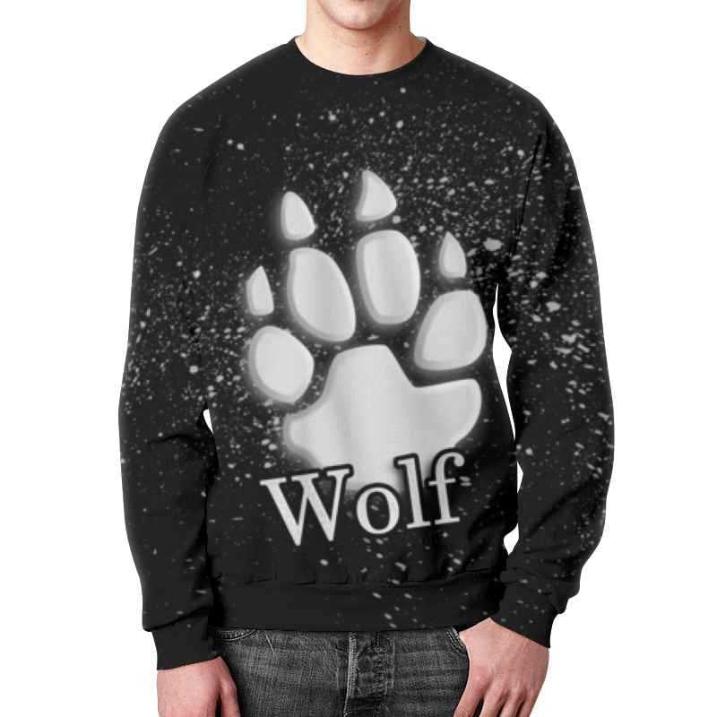 Свитшот унисекс с полной запечаткой Printio Лапа волка