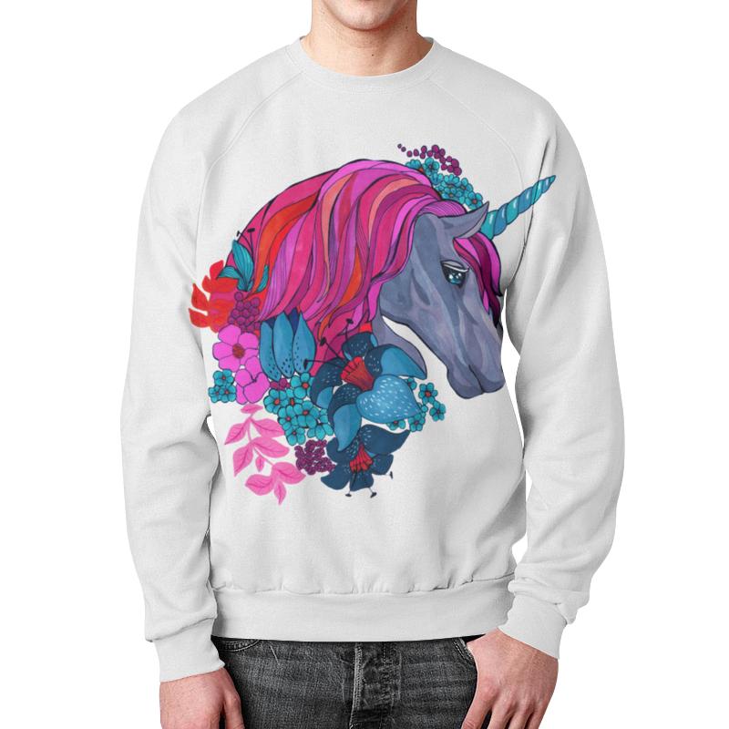 Фото - Свитшот унисекс с полной запечаткой Printio Единорог с розовыми волосами в цветах гобелен 180х145 printio единорог с розовыми волосами в цветах