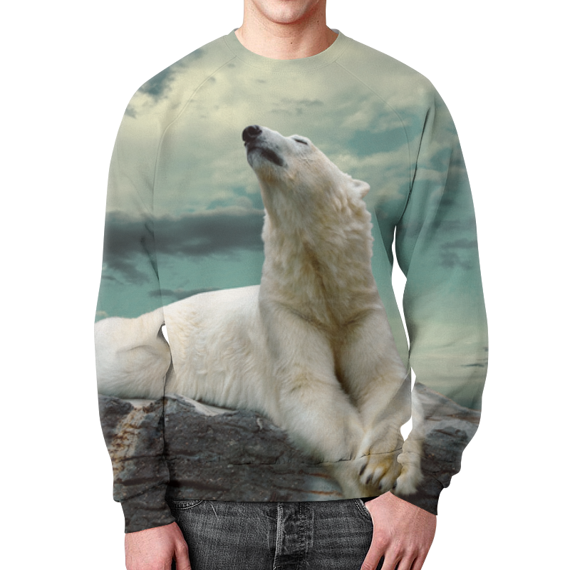 Свитшот унисекс  полной запечаткой Printio Белый медведь