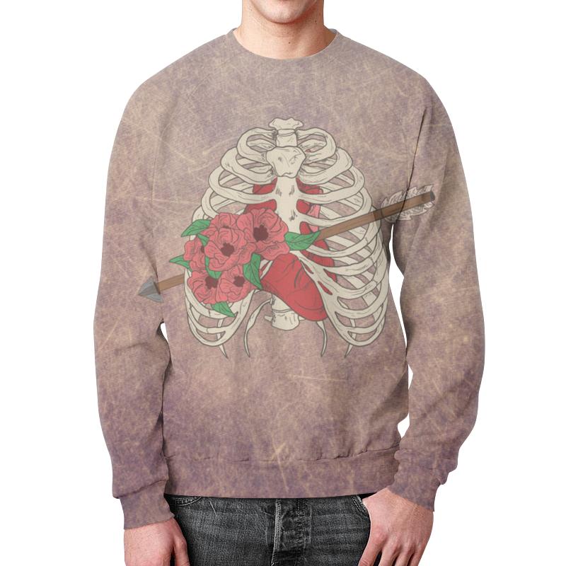 Свитшот унисекс с полной запечаткой Printio Heart and flowers цена