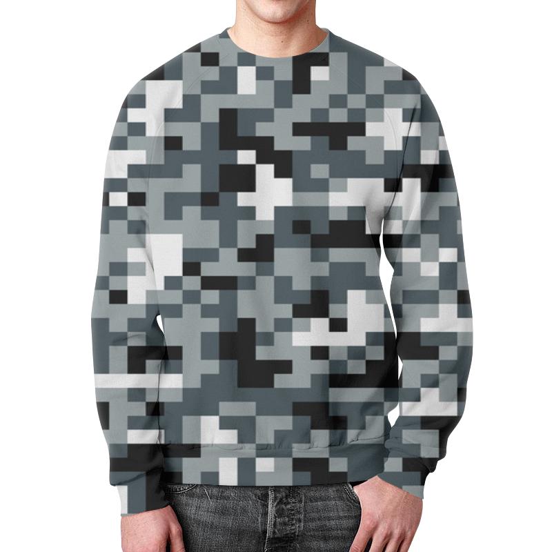 Свитшот мужской с полной запечаткой Printio Gray pixel tpu band with white round dot for xiaomi miband 1s