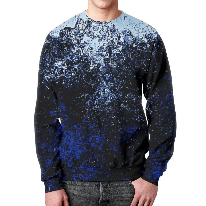 Свитшот унисекс с полной запечаткой Printio Черно-синие брызги цены