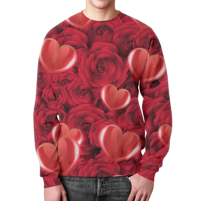 Свитшот мужской с полной запечаткой Printio Сердечки и розы сумка с полной запечаткой printio сердечки и розы