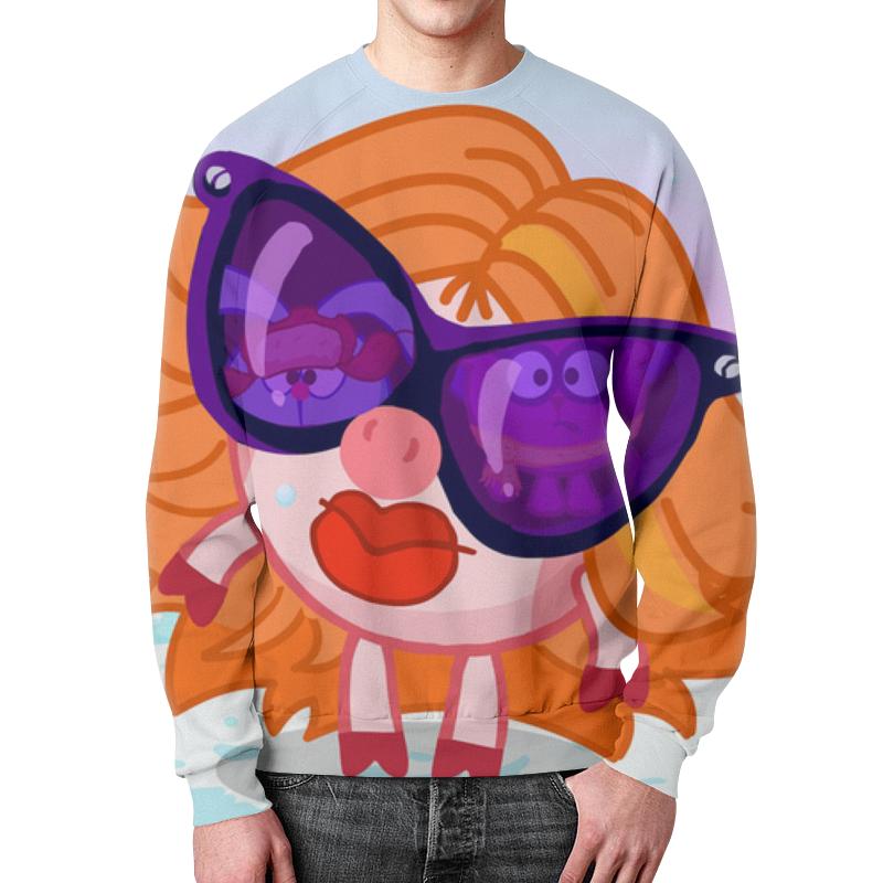 Свитшот мужской с полной запечаткой Printio Мульт смешарик девочка в очках. цена и фото