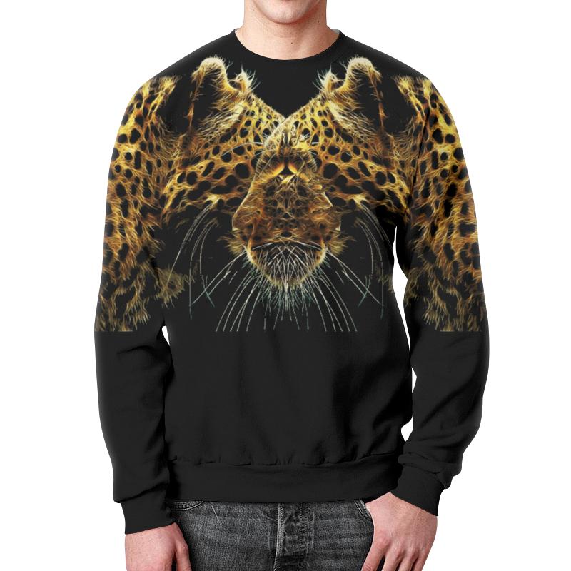 Свитшот мужской с полной запечаткой Printio Леопард кот. азбука леопард