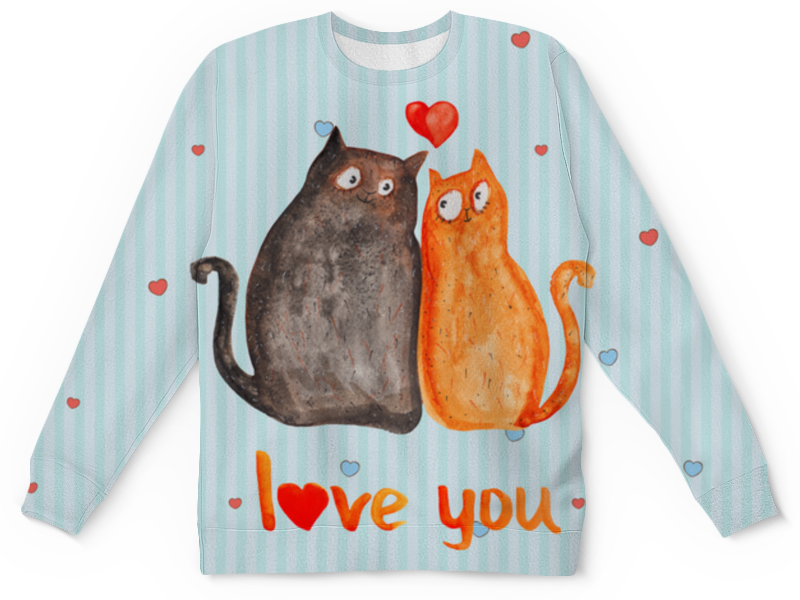 Фото - Свитшот унисекс с полной запечаткой Printio Влюбленные коты влюбленные коты
