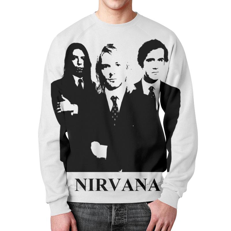 Свитшот мужской с полной запечаткой Printio Nirvana рубашка поло с полной запечаткой printio акварельная новогодняя забавная собака