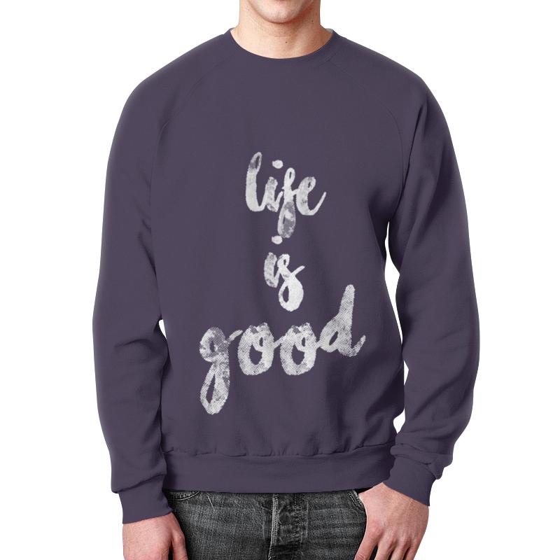 Свитшот унисекс с полной запечаткой Printio Life is good life is good boy s tattered chill flag cap