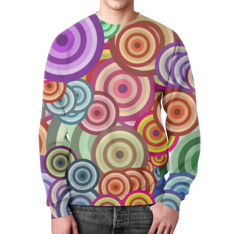 Свитшот мужской с полной запечаткой Printio Цветные круги все цены