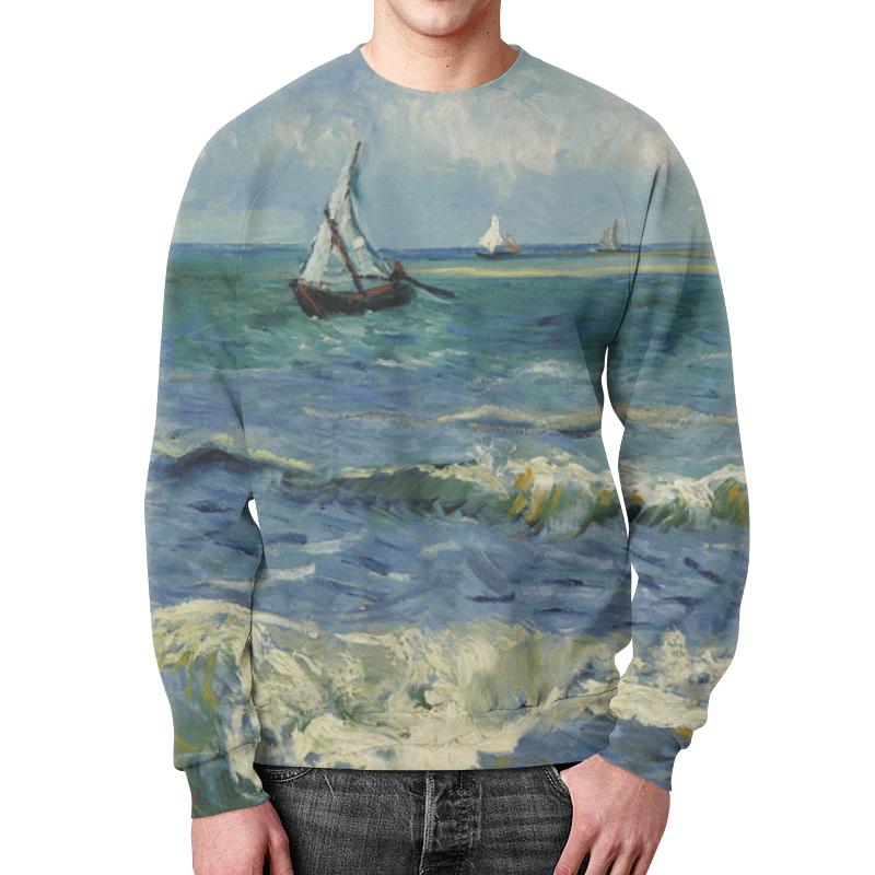 Свитшот мужской с полной запечаткой Printio Морской пейзаж у сент-мари-де-ла-мер (ван гог) рюкзак с полной запечаткой printio девушка с японским зонтиком виллем де зварт