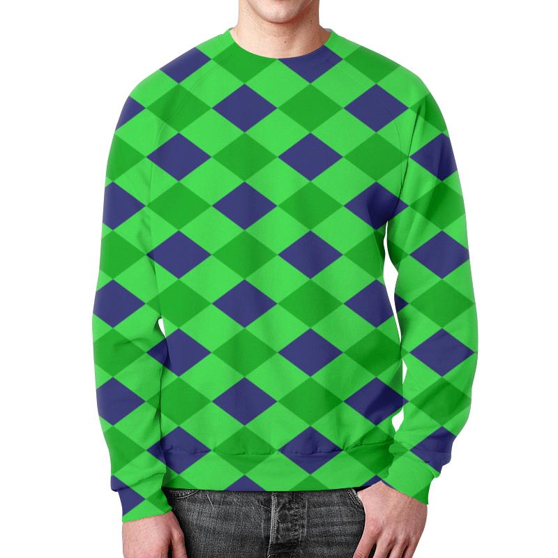 Фото - Printio Сине-зеленые квадраты свитшот мужской с полной запечаткой printio зеленые линии