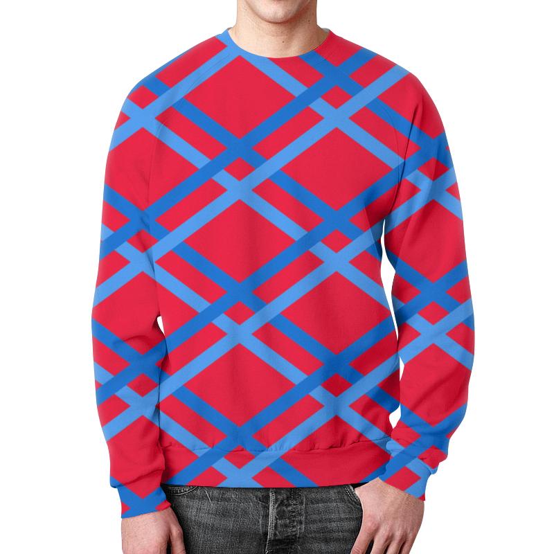 Свитшот мужской с полной запечаткой Printio Сине-голубые линии цена
