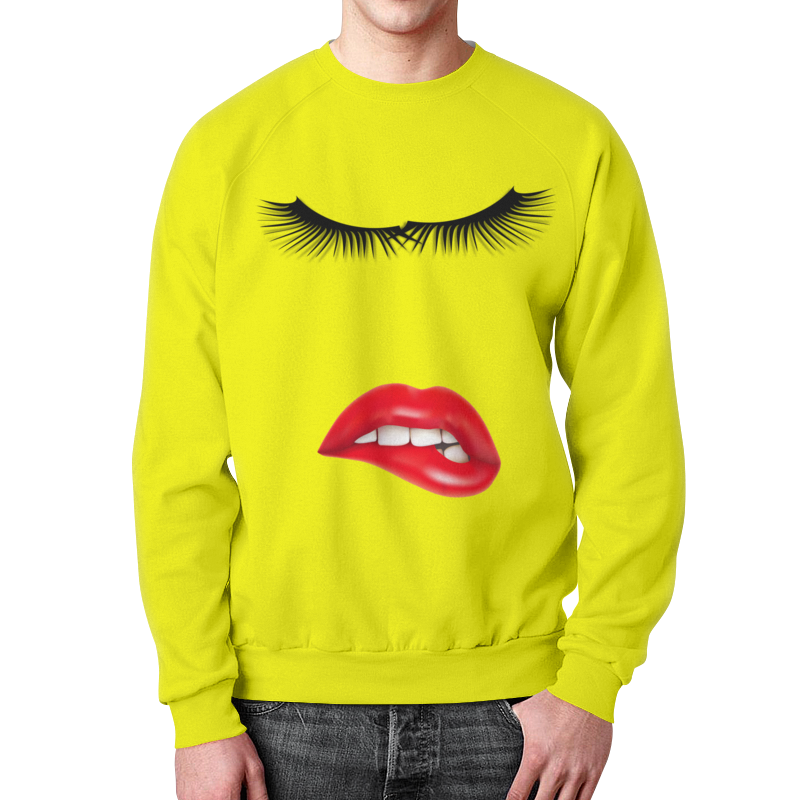 Свитшот мужской с полной запечаткой Printio Глаза губы зубы. цена