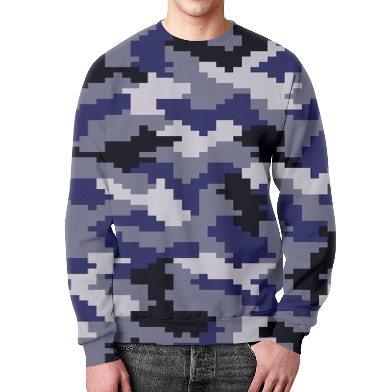 Свитшот мужской с полной запечаткой Printio Blue camouflage xintown camouflage winter long sleeved
