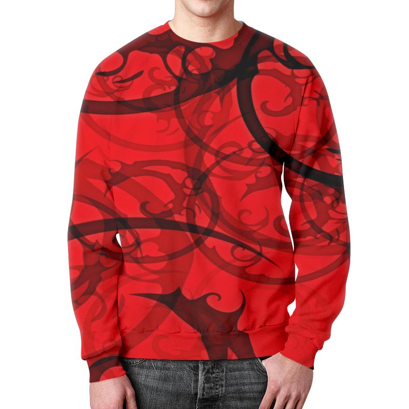 Свитшот мужской с полной запечаткой Printio Черно-красный узор свитшот унисекс с полной запечаткой printio черно белый узор
