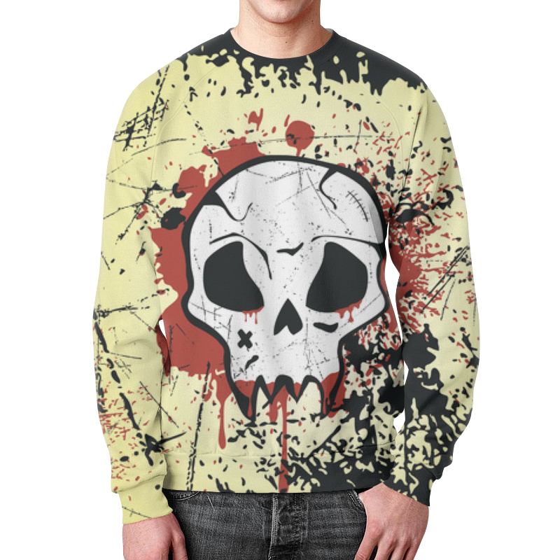 Printio Grunge skull свитшот унисекс с полной запечаткой printio skull 17