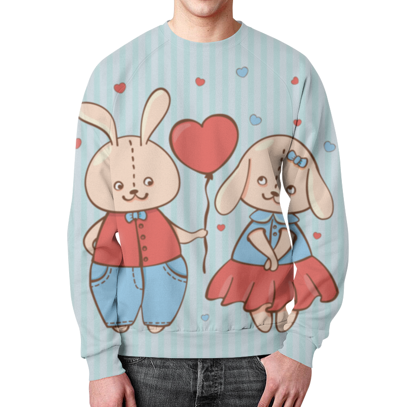 Свитшот мужской с полной запечаткой Printio Влюбленные зайцы свитшот мужской с полной запечаткой printio влюбленные мишки тедди