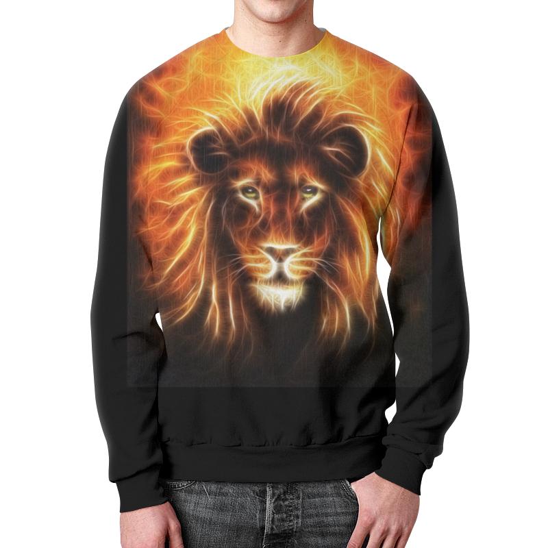 Свитшот мужской  полной запечаткой Printio Огненный лев