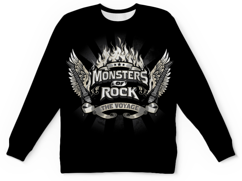Свитшот унисекс с полной запечаткой Printio Monsters of rock моноблок lenovo ideacentre 520 22iku 22 fullhd core i3 6006u 4gb 1tb amd 530 2gb dvd win10 black