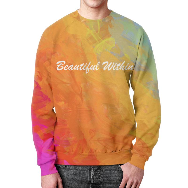 Свитшот мужской с полной запечаткой Printio Яркий радужный дизайн с надписью beautiful